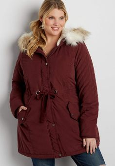 plus size coat with quilted stitching and faux fur trimmed hood | maurices