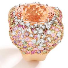 Brumani - Panache Ring - 18k white & rose gold with white & brown diamonds, morganite, and multicolored sapphires