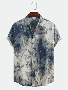 Mens Chinese Style Abstract Printing Short Sleeve Loose Casual Shirts is designer and cheap on Newchic. Loose Shirts, Casual T Shirts, Casual Tops, Men Casual, Men's Shirts, Mens Clothing Styles, Men's Clothing, Chinese Style, Printed Shorts