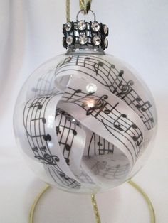 Music Glass Ornament with Faux Rhinestones and Music Note Ribbon
