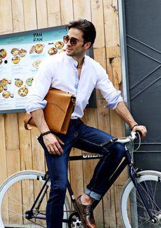 Spring / Summer - street style - casual style - light blue china collar shirt + brown messenger bag + brown belt + dark brown oxfords + dark denim cropped jeans + brown sunglasses