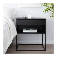 neutral bedroom decor ideas modern meets traditional bedroom design neutral bedding and white walls in modern bedroom design how to style a nightstand nightstand decor ideas bedding ideas Black Nightstand, Ikea Nightstand, Minimalist Nightstand, Nightstands, Nightstand Ideas, Dresser Mirror, High Beds, Painted Drawers, Bedroom Black