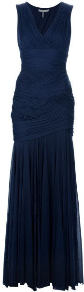 Halston Heritage Blue Ruched Gown