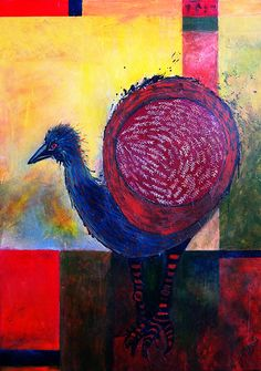 Emu -Acrylic on canvas by Jacqui Christians 2014 Emu, Creative People, Christians, Draw, Studio, Canvas, Sewing, Decoration, Check