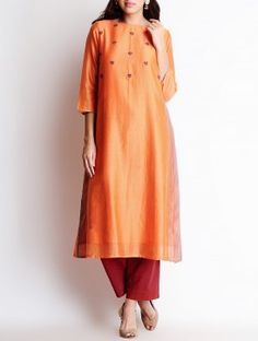 Sinduri Orange Bullion Hand Embroidered Yoke Chanderi Kurta