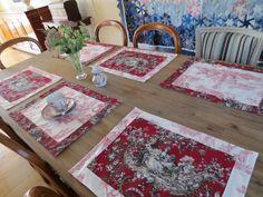 Lot de 6 sets de table en toile de jouy rouge et blanc : Cuisine et service de…