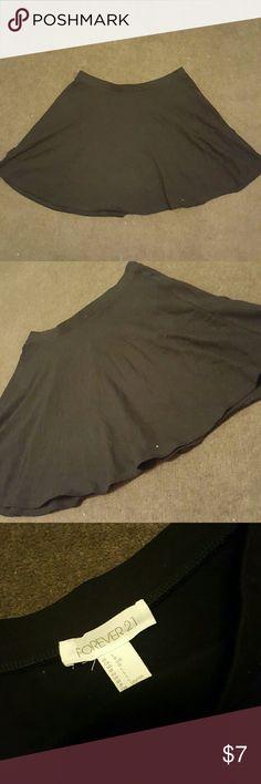 Black skater skirt Black skater skirt from forver 21. Size large. 95 percent cotton, 5 percent spandex.  Flowy skirt. Forever 21 Skirts Circle & Skater