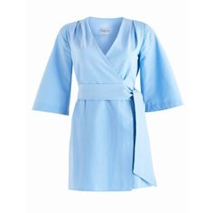 CoCo VeVe - Mary-H Wrap Dress Kimono in Pale Blue ($135) ❤ liked on Polyvore featuring dresses, blue dress, blue kimono, wrap dresses, wrap style dress and short wrap dress