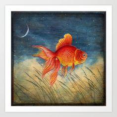 Floating Red Fish by Patrizia Ambrosini  #painting #cute #animal #nature #illustration #nature #fish #swimming #golden #golden-fish #goldfish