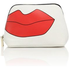 Alice and Olivia Lips Faux-Leather Cosmetic Pouch ($100) ❤ liked on Polyvore featuring beauty products, beauty accessories, bags & cases and apparel & accessories