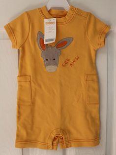 NWT Vintage Gymboree Baby Fiesta! Fiesta! Eee Aww Donkey Romper Yellow 3 6 M #Gymboree