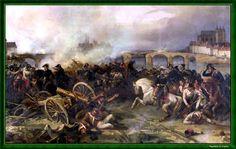 """""""Bataille de Montereau, le 18 février 1814 - Opération dirigée par le Général Gérard"""". Peint par Jean-Charles Langlois, dit """"Le colonel""""."""