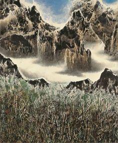 Cloud-girdled Mountains 白雲鎖山腰, 2007, by Liu Kuo-Sung (Liu Guosong)