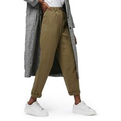 Women's Topshop 'Mensy' Corduroy Peg Trousers (270 PEN) ❤ liked on Polyvore featuring pants, capris, olive, brown crop pants, pleated corduroy pants, cropped pants, olive green pants and cropped trousers