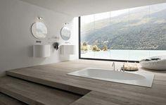 sunken tub in raised wool platform with steps