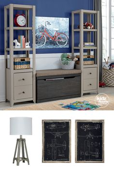 #iKidzRooms - Who says storage can't be stylish? The Javarin bookshelves are the perfect asset to any bedroom. with 3 shelves plus drawer storage, organizing your stuff has never been easier! iKidz Rooms®- Kids, Youth and Teen Bedroom Furniture, Accessories and Bookshelves - Storage - Organization