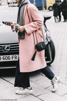 Blush Pink Coat at Street Style Paris Haute Couture Daily Fashion, Look Fashion, Trendy Fashion, Trendy Style, Nordic Fashion, Swedish Fashion, Paris Street Fashion, Mode Outfits, Fashion Outfits