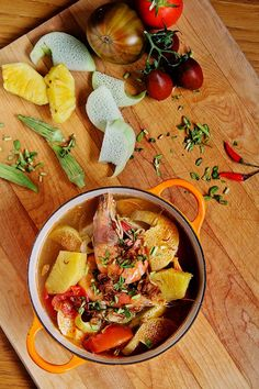 I came to Vietnam because of this sweet sour soup, canh chua. Here is a recipe from The Ravenous Couple. So good!