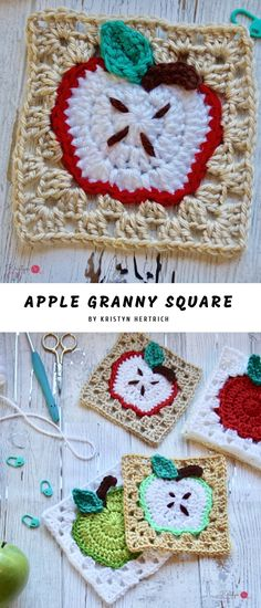 Crochet Squares Apple Granny Crochet Square - This beautiful crochet granny square features an apple in the center with fabulous colors or mixes it up for a quite fun center, steam, and the leaf too. Granny Square Pattern Free, Crochet Granny Square Afghan, Crochet Blocks, Granny Square Crochet Pattern, Crochet Squares, Crochet Motif, Diy Crochet, Crochet Patterns, Granny Squares