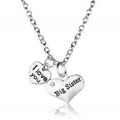 Big Sister I Love You Double Heart Pendant Necklace