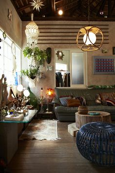 Beautifully done bohemian living room. Whimsical. Eclectic. Gypsy chic.