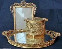 Superb brass openwork on all 3 pieces. The mirror is surrounded by a curving gallery of swags of flowers and leaves. ON either side are handles in the form of ornate bows. Dresser Vanity, Dresser Sets, Vanity Decor, Vanity Set, Victorian Dressers, Antique Lighting, Vintage Vanity, Little Boxes, Beveled Glass