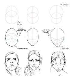 Easy face drawing tutorial with construction lines by AlicjaNai Pencil Art Drawings, Art Drawings Sketches, Dress Sketches, Quote Drawings, Eye Drawings, Realistic Drawings, Drawing Lessons, Drawing Techniques, Drawing People Faces