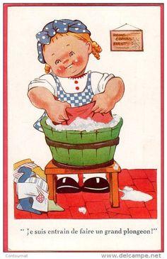 enfant lessive - Delcampe.fr