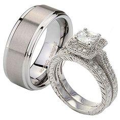 3 pcs His Her Tungsten Satin Step Edges & Sterling Silver 2.3CT Princess CZ Wedding Ring Set Sz 5, 9 Tungstenmen http://www.amazon.com/dp/B00BE2TARC/ref=cm_sw_r_pi_dp_H3Jjub1KEY251