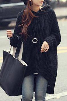 Hooded Irregular Hem Oversized Sweater BLACK: Sweaters | ZAFUL