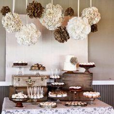 Cake/Sweets table #vintageBaptism #unisex #brown #bronze #cream #gold #cakeTable