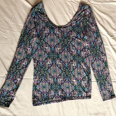 Soft Tapestry style Long Sleeve Shirt Very soft material, never worn. Size XL, but fits tightly, so I'm listing it as a Large! Tops Tees - Long Sleeve
