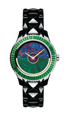 Watch Dior VIII Grand Bal Haute Couture. Yellow Gold, Green Mother-of-Pearl, Black High-Tech Ceramic, and White Gold. Dior.