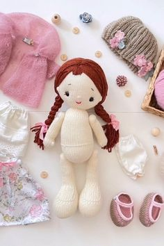 Fabric Doll Pattern, Knitted Doll Patterns, Doll Patterns Free, Knitted Dolls, Doll Clothes Patterns, Fabric Dolls, Knitting Patterns, Knitting Dolls Clothes, Sewing Dolls