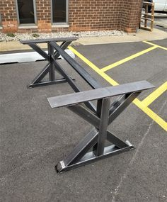 Beautiful design and High Quality! Load up to 1500 lbs. on this set of 2 legs with 2 Braces. This listing is for set of 2 Steel Tubing Trestle Legs with 2 Braces between the legs. - Made from Steel Tubing - 3 x 3 - ce Metal Dining Table, Trestle Table, Wood Table, Dining Room Table, Trestle Legs, Welded Furniture, Steel Furniture, Mesa Metal, Welding Table
