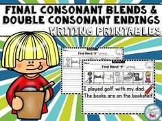 These writing printables will help students incorporate final consonant blends and double consonant endings into their writing. Writing Lines, Spelling Patterns, Phonics Words, Consonant Blends, Jolly Phonics, Compound Words, Word Sorts, Kindergarten Writing, Word Study