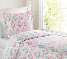 Trisha Trellis Duvet Cover - PB Kids - add her favorite blue into Kate's very pink room