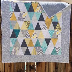Baby Quilt // Boy's Triangle Quilt // Girls by SewLauraQuilts