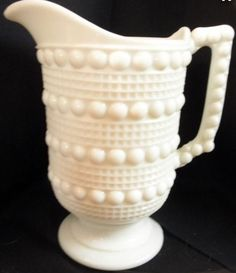 "EAPG Ohio Flint Glass Company ""Candlewick"" Milk Glass Water Pitcher"