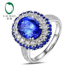 caimao 8x10mm oval cut 3.15ct tanzanite halo pave diamonds 14k white gold engagement ring