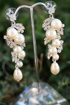 Lamor Swarovski crystal and pearl bridal  earrings
