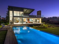 500 square meter home in waterfall country estate by luc zeghers architects Pool At Night, Storey Homes, Expensive Houses, Square Meter, Country Estate, Residential Architecture, Architects, Waterfall, New Homes