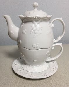 Ganz White Lace Eyelet Flower Teapot, Cup & Saucer - Tea for One