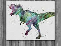 Tyrannosaurus rex Dinosaur print watercolor
