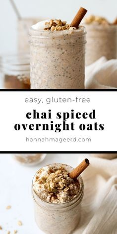 Chai Spiced Overnight Oats Bringing all the warm and cozy chai spices to a classic, easy breakfast option – overnight oats! This recipe is simple to make ahead, store in the fridge, then grab and go in the morning! Overnight Oats In A Jar, Peanut Butter Overnight Oats, Low Calorie Overnight Oats, Bon Dessert, Oatmeal Recipes, Freezer Recipes, Healthy Breakfast Recipes, Pancake Recipes, Waffle Recipes