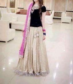 Lehanga with short valvet shrit Pakistani Wedding Outfits, Pakistani Dresses, Indian Dresses, Pakistani Clothing, Bridal Outfits, Wedding Dresses For Girls, Party Wear Dresses, Girls Dresses, Weeding Dresses