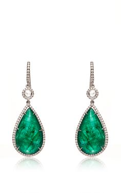 18K White Gold And Emerald Drop Earrings With Rose Cut Diamonds by Nina Runsdorf - Spring-Summer 2015 (=)