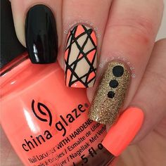 lovely abstract coral design feature China Glaze Flip Flop Fantasy by deanne29