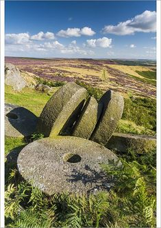 Poster Print-Millstones, Stanage Edge, Peak District National Park, Derbyshire, Poster sized print made in the USA Cornwall England, Yorkshire England, Yorkshire Dales, London England, Oxford England, Peak District England, Uk Landscapes, Skye Scotland