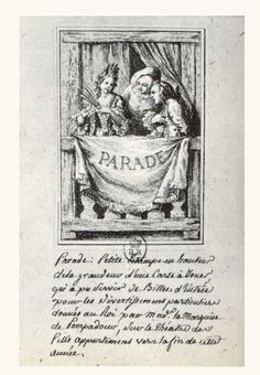 """The invitation card for the performance of Madame Pompadour at the """"Le petits Appartments"""" theatre. The engraving is made by Cochin (the son)  NOTES:  The audience was formed by the Royal family and by forty guests, selected by Madame Pompadour.  http://www.madamedepompadour.com"""